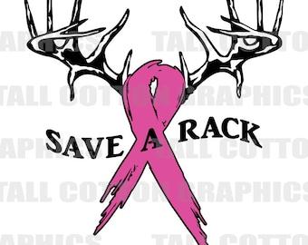 Save a Rack Hot pink Ribbon Breast Cancer Awareness Vinyl Decal #BC001