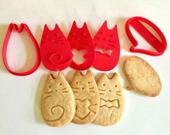 Cat Cookie Cutter Cookie Stamp Cat 3D Printed Bake Message Baker Gift Cat Lover Valentine Heart Speech Bubble Gift Cookie Cutter Set