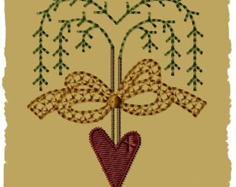 Primitive Machine Embroidery Design-Willow Spring Ornie-- (4x4)-INSTANT DOWNLOAD