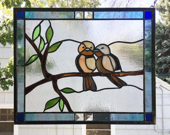 "Stained Glass Window Panel--Two Love Birds--12.5"" x 15.5"""