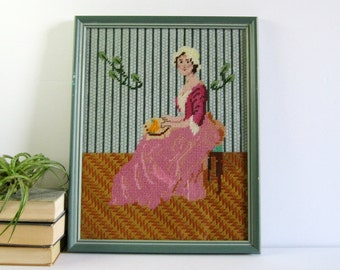 Whistler's Mother - Vintage Needlepoint Embroidery Art - Framed Fiber Art - Green Wall Decor - Geometric Interior Decor Sewing Room Decor