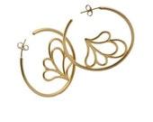 Gold Flower Earrings - Fl...