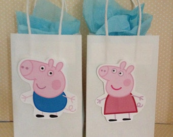 Peppa Pig and Friends Favor Party Bags with Handles - Set of 10
