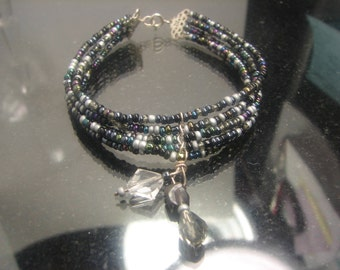 "Artisan Sterling Gemstone Beaded bracelet with white facated amathyst dangle. 7"" long,  10 grms, 15mm wide 1169"