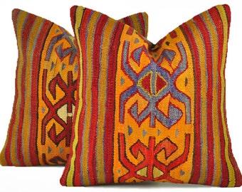 Set of 2 Kilim Pillow Covers, Decorative Pillows, Kilim Pillow, Turkish Kilim, Bohemian Pillow, Turkish Pillow, KP72 (tp10-59)