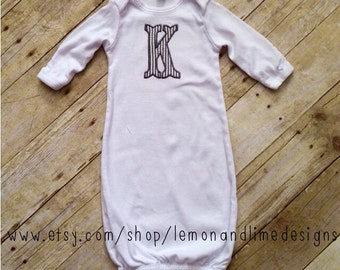 Monogrammed Embroidered Infant Sleeper Gown