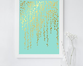 Succulent Plant Art Print - String of Pearls Plant - Gold Foil Print - String of Pearls Succulent - Succulent Arrangement - Botanical Decor