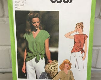vintage Simplicity 8587 pattern, Misses' pullover tops, sizes 6 and 8, bust 30.5-31.5, drop shoulders, self ties, bateau neckline, 1978