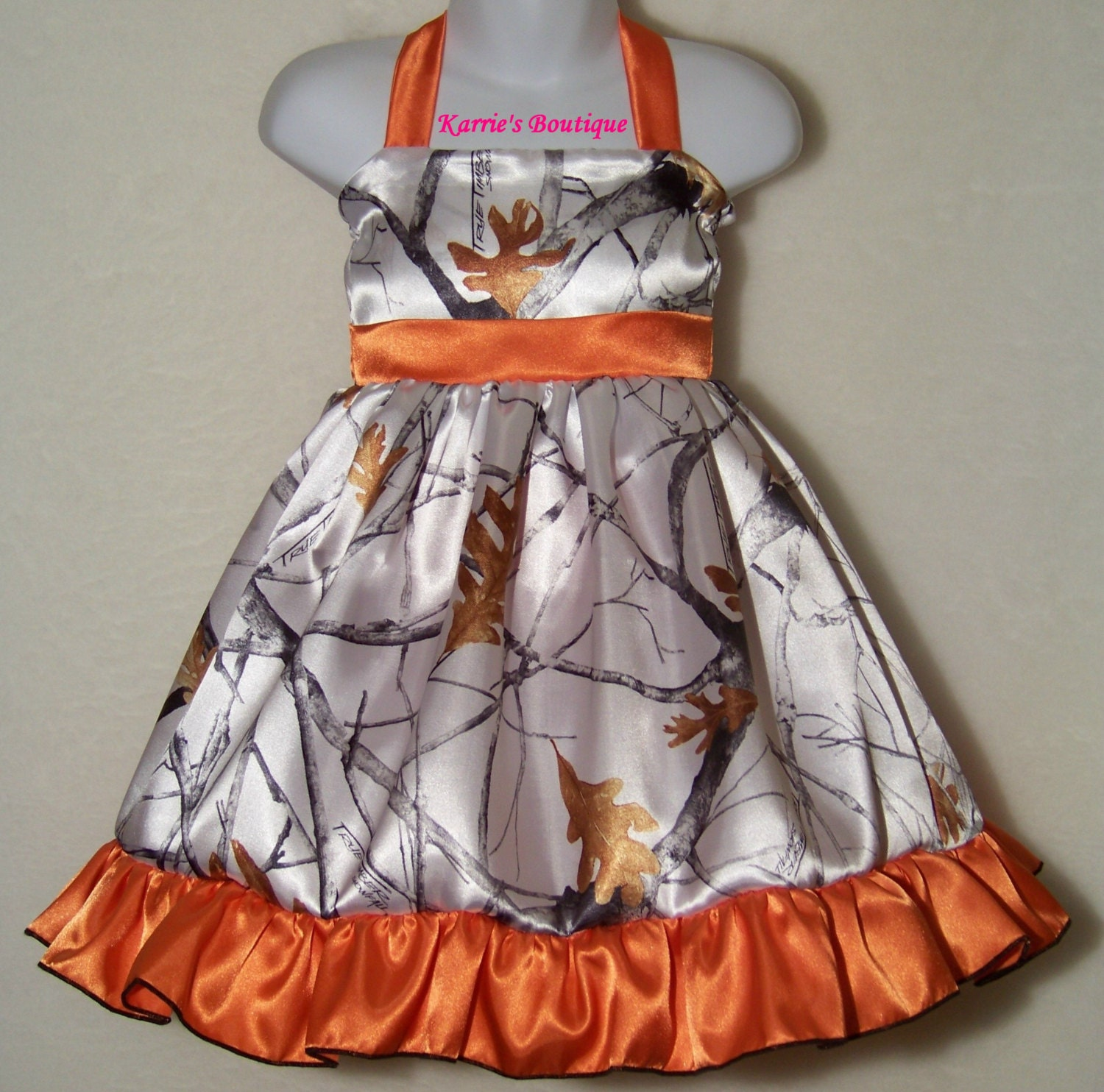 CAMO Flower Girl Dress / Snow Camo Orange / Halter / Satin /