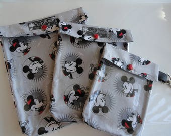 Mickey Mouse Ouch Pouch 3 Pack Large Medium & Small Clear Toiletries Diaper Bag Backpack Purse Organizers Disney Fish Extenders Clip Option