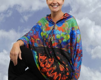 Brilliant Butterfly Wearable art, Wearable art clothing, , Butterfly Wings, Silk kimono, Gifts for woman,  Wings, Yoga Cover up