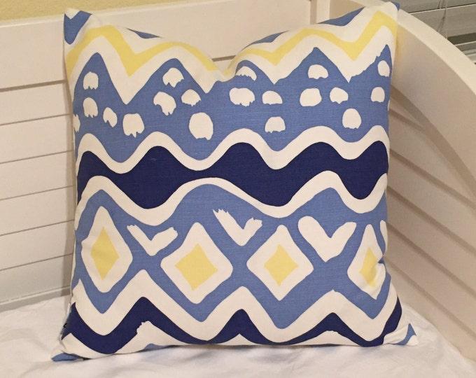 Quadrille China Seas Cap Ferrat Designer Pillow Cover - Square, Euro and Lumbar Sizes