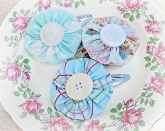 SALE Blue Yoyo Snap Clips For Girls - Hair Accessories Set Yo Yo Children - Barrettes Flower Girl Gift Pastel Plaid Floral - Handmade Button