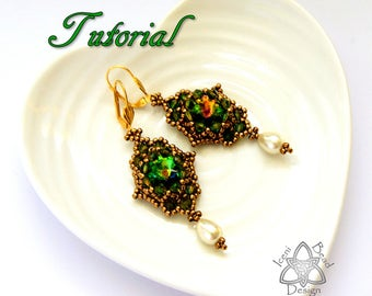 PDF Tutorial Little Lizzie Earrings with Crystal Rivoli and Crystal Bicones, Instructions, Beading Pattern. English Only,