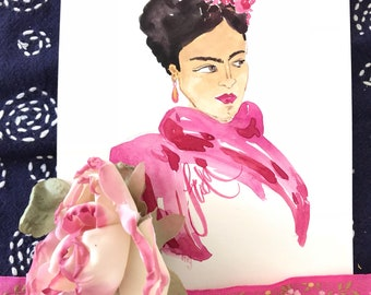 Frida with Pink Scarf