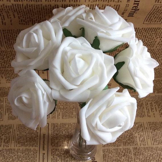 Vanrina white roses artificial white flowers foam roses 7cm mightylinksfo