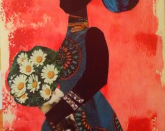 Bouquet ORIGINAL African American Art  Collage