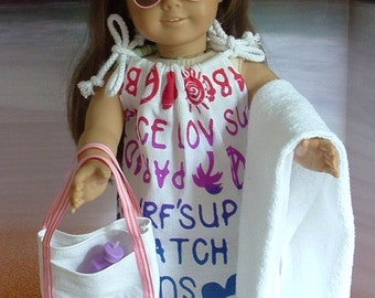 Five Piece Beach Cover Up Set for American Girl Dolls