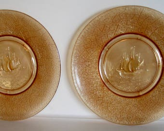 Antique Plates Ship EAPG Belmont Plates Ships Marigold Carnival Set of 2
