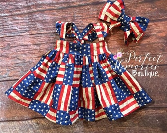 Girl Dress | My First 4th of July | 4th of July | 4th of July Dress | America Dress | Baby Girl Dress | USA | Dress | American Flag | July 4
