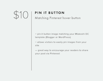 Pin-it Button  — Add On — Add Custom Pint-it Hover Button to Your Blog Template — Pinterest Button Design — Pin for Blogger / WordPress