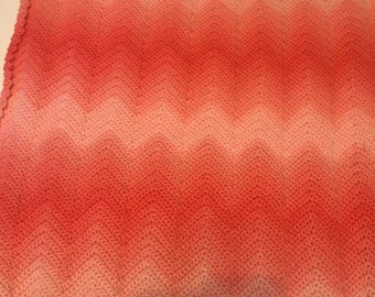 Crochet chevron  blanket. Made to order. 32x 27