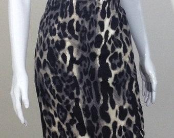Animal print pencil skirt Black, gray and tan