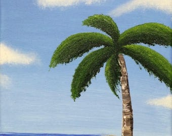 "Lonely Palm Tree Oil & Acrilic Painting 8 x10"" canvas. Orginal only."