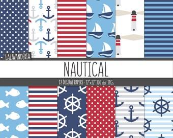 Nautical Digital Paper Pack. Anchor, Ship Wheel, Sailboat, Fish and Lighthouse Patterns. Navy Summer-Coastal Backgrounds. Digital Scrapbook