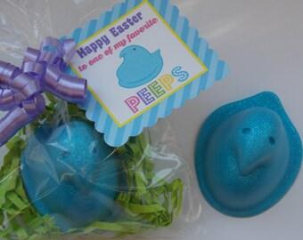 5 EASTER CHICK Soap Favor {With Tags & Ribbons} -  Easter Basket Filler Gift, Easter Basket Stuffer, Easter Party Soap Favor, Easter Favor