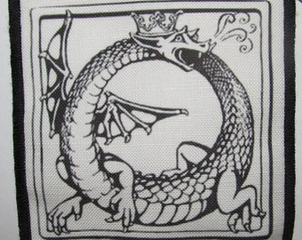 Printed Sew On Patch - DRAGON OUROBOUROS - Evil once again Destroys Itself