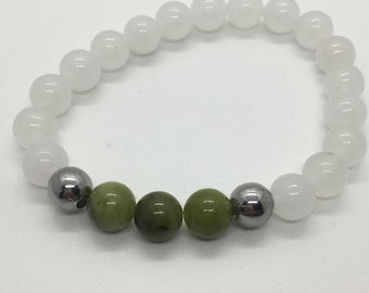 Serpentine and Quartz Bracelet