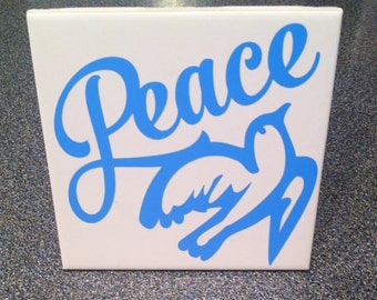 Tile  home decor four  inch peace dove  tile sentiment office decor plaque wall decoration  vinyl tile