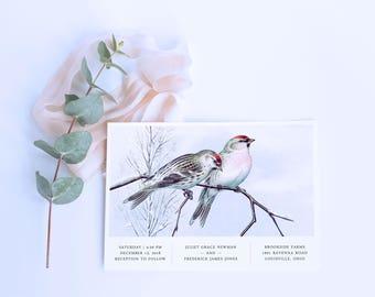 Winter Birds Wedding Invitation Set // Modern Bird Wedding Invitations Rose Quartz Serenity Blue Pine Trees December January February Cards