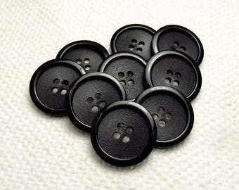 """Texture & Gloss: 3/4"""" (19mm) Black Buttons- Set of 9 Vintage New Old Stock Matching Buttons"""