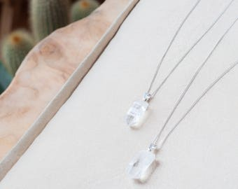 Clear Quartz Necklace Crystal Pendant Clear Quartz Point Pendant Delicate Crystal Necklace Dainty Necklace Sterling Silver Boho Chic Jewelry