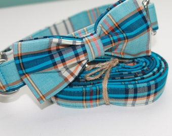 Blue Plaid Southern Striped Dog Collar with Leash/Bow Option