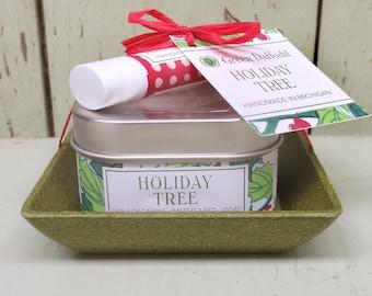 Holiday Tree Candle & Lip Dish Kit-  Green Daffodil
