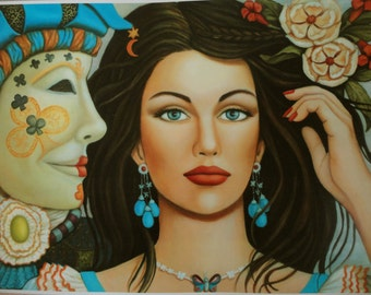 """Fantasy Art Print """"Lady of Clubs"""" Girl w/ Venetian Mask from Original Painting by Daniela Mar signed"""