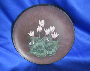 Hand-painted Terracotta Collecters Plate 'Cyclamen' Made in Cyprus, Signed
