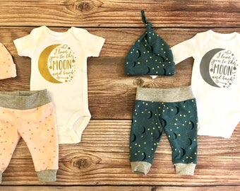 Twin Newborn Outfit, Twin Going Home Outfit, Twin Coming Home Outfit, Twin Hospital Outfit, Moon and Star, Love you to the moon and back