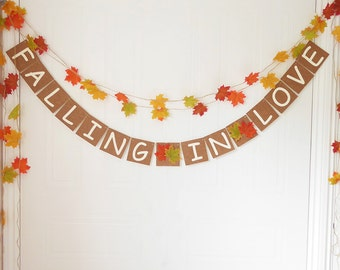 Falling in love bunting, fall wedding, autumn wedding, bridal shower, engagement décor