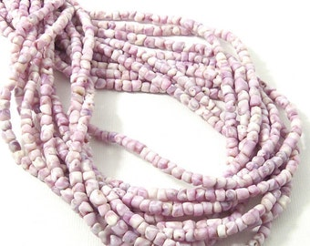 Violet Coral Shell Heishi Bead, Cebu Beauty, Orchid Shell, 3mm, 4mm, 5mm, Purple, White, Thin, Very Small, Natural, 16 Inch Strand - ID 2092