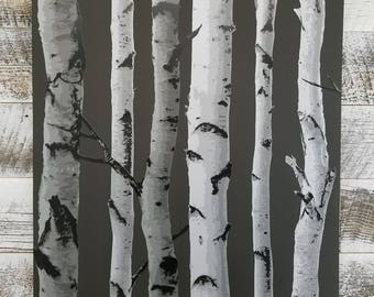 Brewster Distinctive Black Birch Tree Metallic Silver Contemporary Wallpaper 2900-31052 - Sold by the Yard