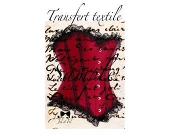 Transfer on manuscript 6.5 Garnet strapless vintage textile / 8cms