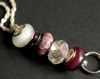Beaded Badge Holder. Purple Badge Lanyard. Purple ID Lanyard. Amethyst Badge Necklace. Lampwork Glass Lanyard. Handmade Nurse Lanyard.