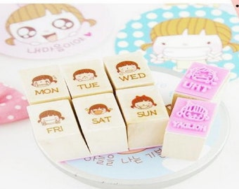Cute Girl Expressions Wooden Rubber Diary Schedule Stamp Set - 8 pcs / Set