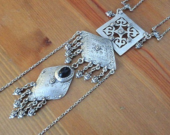 Long ethnic necklace, silver necklace, tribal necklace, unique necklaces for women, statement necklace, boho metal jewelry, mothers day gift