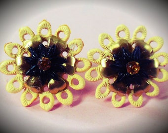 1950's Cute Plastic Flower Earrings with Rhinestone Center - handmade from Vintage New Old Stock materials, yellow/black/gold,Brass clip ons
