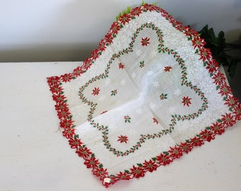 Vintage Christmas Handkerchief / NOS New Old Stock Poinsettia Snowflake Holly Berry Red / Holiday Hanky Hankercheif Handkercheif Linens Xmas